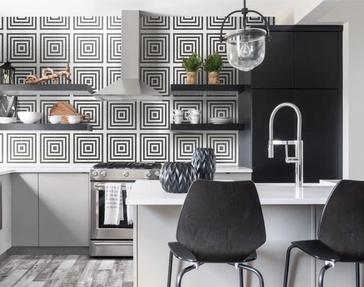 60 336 8x8 Form Monochrome Geo Deco HD Porcelain Tile Lifestyle