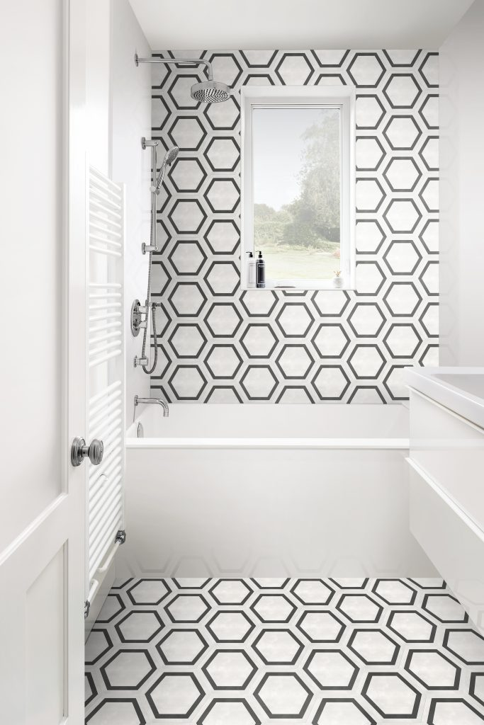 60 405 7X8 Form Ivory HD Hexagon Frame Porcelain Tile Lifestyle
