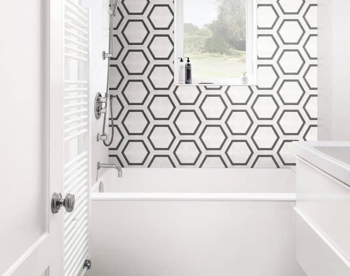 60 405 7X8 Form Ivory HD Hexagon Frame Porcelain Tile Lifestyle