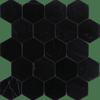 nero marquina black marble 4 hexagon honed mosaic 6